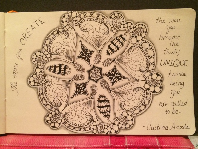 Week 3 - Our Tangle Lives journal. Prompt: unique as a snowflake.