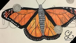 Then I used colored pencils and gel pens on the butterfly. But it just looks striped!