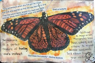 Close-up of the left-hand side. After I tangled on the butterfly that I cut out, I couldn't bear to pitch it. After I thought it was done, I found lyrics that I had printed meaning to use. Since there was no way for me to print that small and have it still be legible, I cut the lyrics into strips and glued them down.