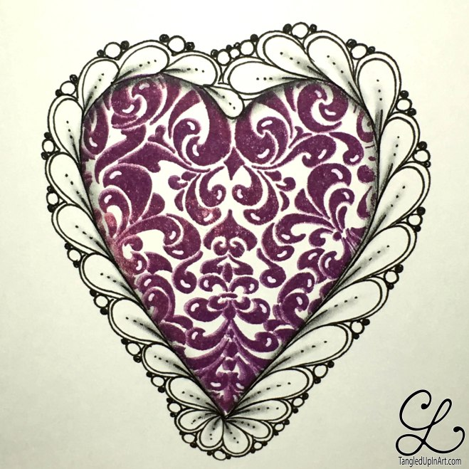 Purple heart with highlights, flux, and pearls.